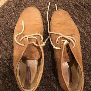 Frye tan low ankle booties